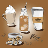 Various coffees. Vector illustration on brown background. Hand drawn various coffees on brown background. Ice coffee, coffe to go, lungo with macaroon, coffee stock illustration