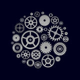 Various cogwheels parts of watch movement in circle Royalty Free Stock Photos