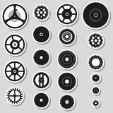 Various cogwheels parts of watch movement stickers Stock Photos