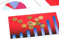 Various coins over the charts. And diagrams Royalty Free Stock Photo