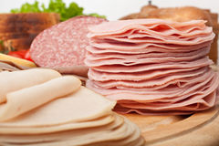 Various Cold Cut Meats. On Wooden Chopping Board Royalty Free Stock Photography