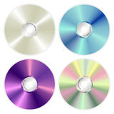 Various color compact discs. Various colors CDs illustration on white background Stock Illustration