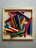 Pile of crayons stock photography