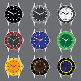 Various color divers watch case and dials with hands Royalty Free Stock Image