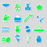 Various color Easter stickers set with shadow Stock Images