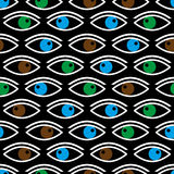 Various color eyes looking at you black seamless pattern eps10. Various color eyes looking at you black seamless pattern Stock Photography