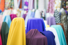 Various color of fabric and textiles in shop for sale Stock Photography