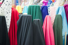 Various color of fabric and textiles in shop for sale Royalty Free Stock Images
