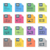 Various color file flat style formats icons set with illustrations. Vector various flat design colored file formats icons with symbols illustrations white Stock Images