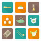 Various color flat style japan tea ceremony equipment icons set Royalty Free Stock Photo