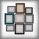 Various color frame on white wall Royalty Free Stock Photography