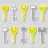 Various color keys stickers for open a lock eps10. Various color keys stickers for open a lock Stock Photos