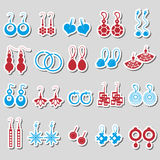 Various color ladies earrings types stickers set. Eps10 Royalty Free Stock Images