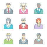 Various color outline people in glasses icons set Royalty Free Stock Image