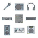 Various color outline sound devices icons set Royalty Free Stock Photo