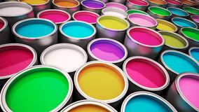 Paint cans. Various color paint cans illustration Royalty Free Stock Photo