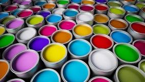 Paint cans. Various color paint cans illustration Stock Images