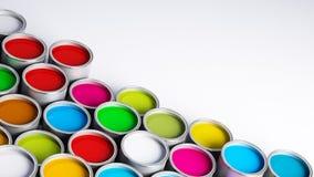 Paint cans. Various color paint cans illustration Stock Photo
