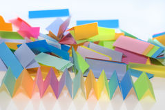 Various color paper. Various color shits of paper scattered on white background Stock Photos