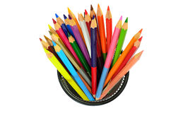 Various color pencils isolated on the white Stock Photos