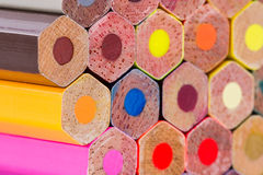 Various color pencils on texture background. Royalty Free Stock Photography