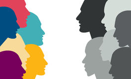 Various color people head in dialogue. Royalty Free Stock Photo
