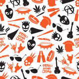 Various color punk icons seamless pattern Stock Photo