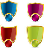 Various color shield designs Stock Photos