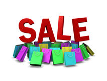 Various color of shopping bag on sale promotion, clipping path i Royalty Free Stock Images