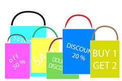 Various color Shopping Bags Royalty Free Stock Photos