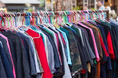 Cloth on rack stock photography
