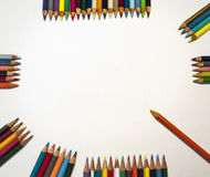Various Colored Art Pencils Around Art Sign Royalty Free Stock Images