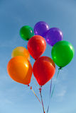 Various colored balloons with a sky background Royalty Free Stock Photos