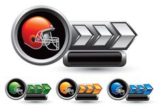 Various colored football helmets arrow nameplates Stock Photography