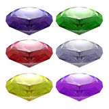 Various colored gemstones Isolated on white Stock Photo