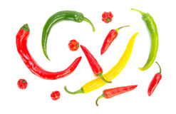 Various colored hot peppers Stock Photography