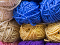Various colored knitting yarn. Closeup of multicolored knitting yarn Royalty Free Stock Photography