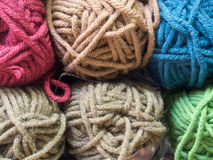 Various colored knitting yarn. Closeup of multicolored knitting yarn Royalty Free Stock Images