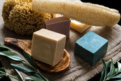 Olive oil soaps royalty free stock photography