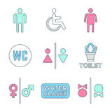 Various colored outline water closet signs toilet restroom icons Stock Photography