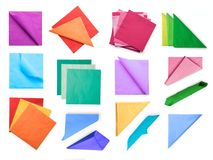 Colored paper napkins collection isolated with clipping path Royalty Free Stock Images