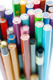 Various colored pencils. Back in detail view stock image