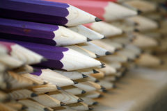 Various colored pencils in row as a creativity selective focus Royalty Free Stock Photos