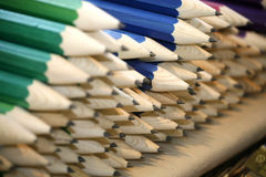 Various colored pencils in row as a creativity selective focus Stock Image