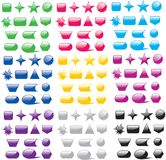 Various Colored Shiny Blank Icons. In primary and secondary colors on white background Royalty Free Stock Image
