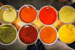 Various colored spices on the Mahane Yehuda Market in Jerusalem. Stock Image