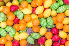 A sweet candies. A various colored sweet candies stock photos
