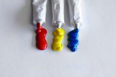 Various colored tubes tempera Stock Photo