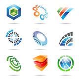 Various colorful abstract icons, Set 7. Various colorful abstract icons isolated on a white background Royalty Free Stock Images
