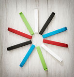 Various colorful bag clips arranged in the circle Stock Image